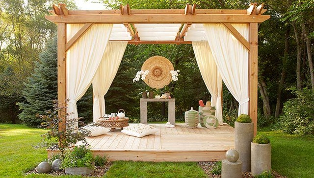 This Curtained Gazebo Is What Meditation Dreams Are Made Of! So Get  Yourself A Hammer, An Array Of Wood And A Builder, If Needed, This One Is  Well Worth The ...