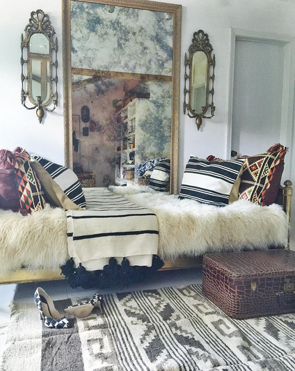 A More Neutral Take On The Boho Trend This Bedroom Sticks To Palette Of Dark Tan Black White And Cream But What Is Lacked In Color Certainly Made