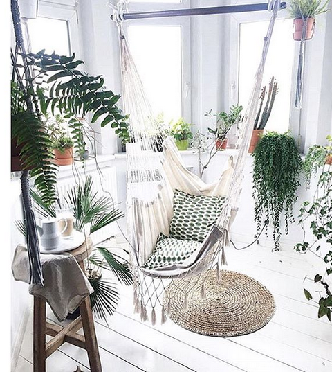 this shot makes us want some kind of minimalist boho jungle in our home get your own leafy paradise by hanging up a hammock adding some cosy cushions and - Boho Decor