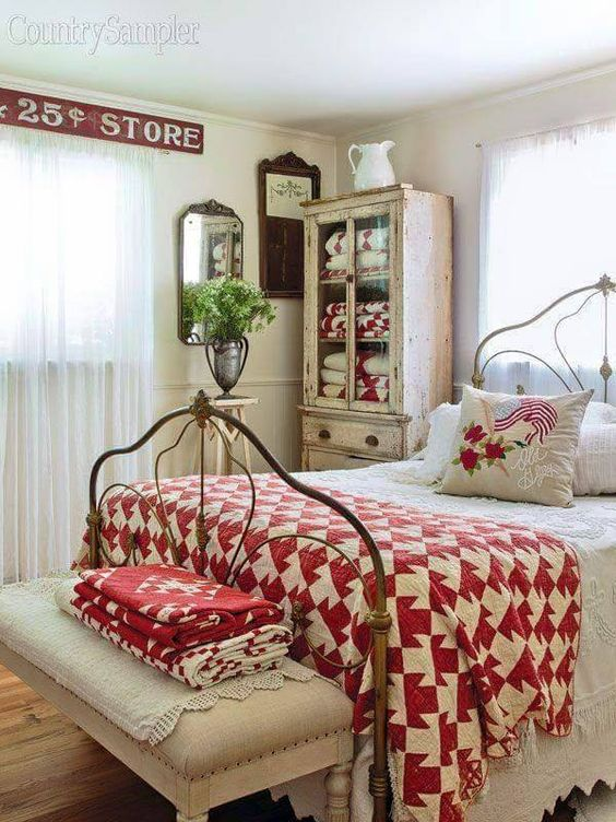 shabby chic cottage style bedroom red and white retro houndstooth print