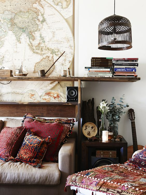 Nomadic Boho Decor With World Map And Morrocan Prints