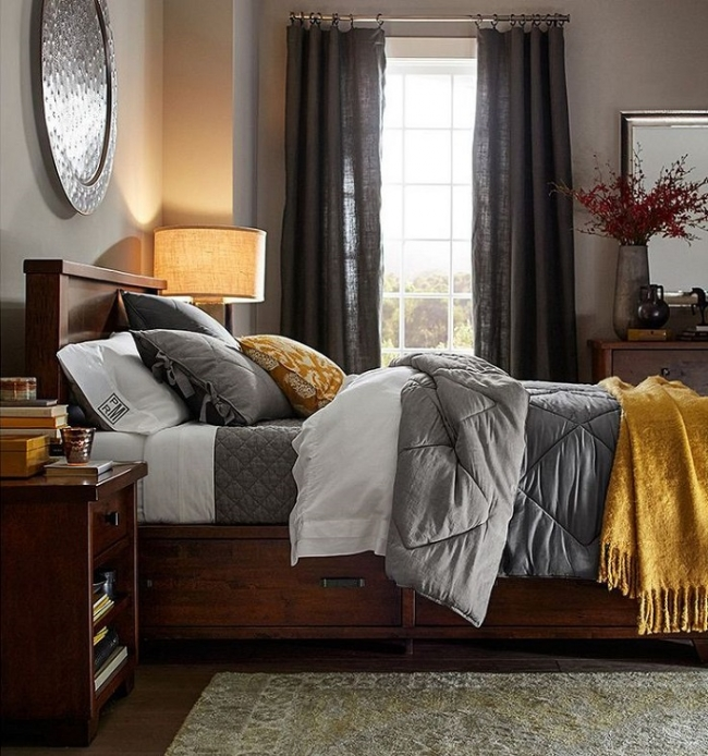 Bedroom Colors To Make It Look Bigger Grey Yellow Blue Bedroom Bedroom Bench Design Ideas Blue And White Bedroom Decor: These Cozy Homes Are SO Fall