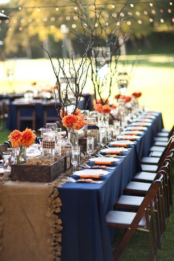Fall Wedding Color Palettes orange and navy