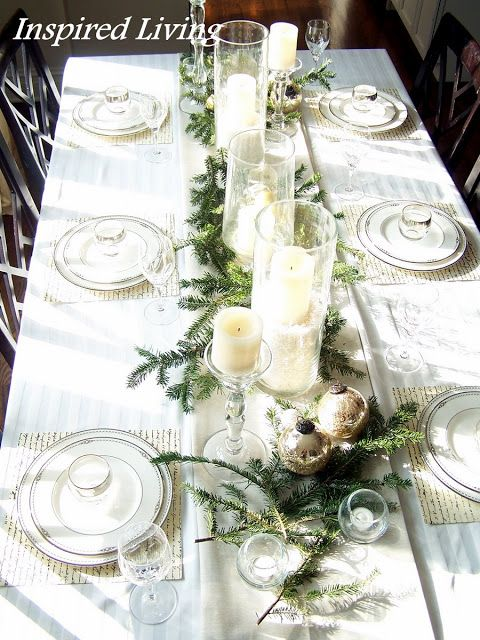 Clean white christmas table layouts