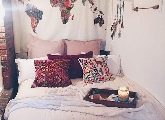 Boho Dorm Decor With World Map