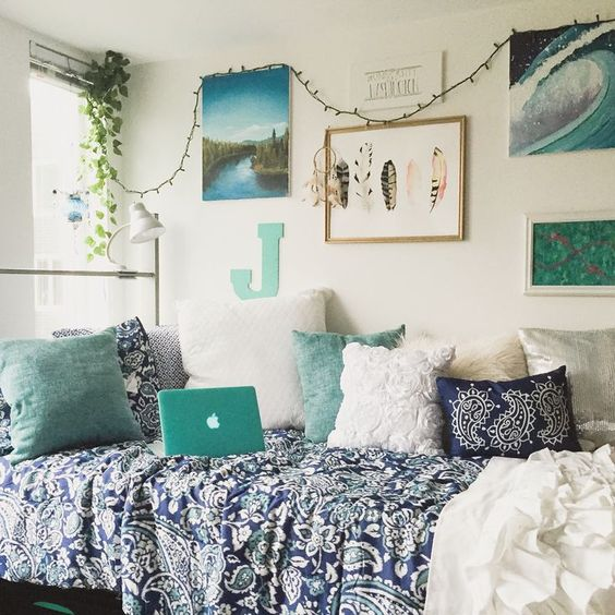 Cool Blue Dorm Bohemian Bedroom