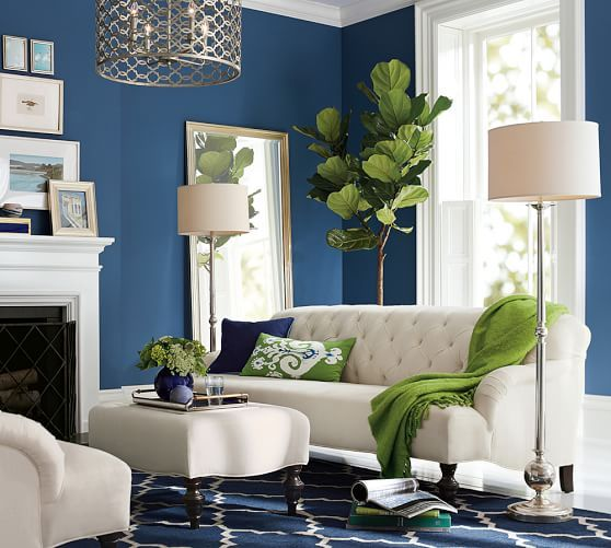 Blue Living Room With Pops Of Green