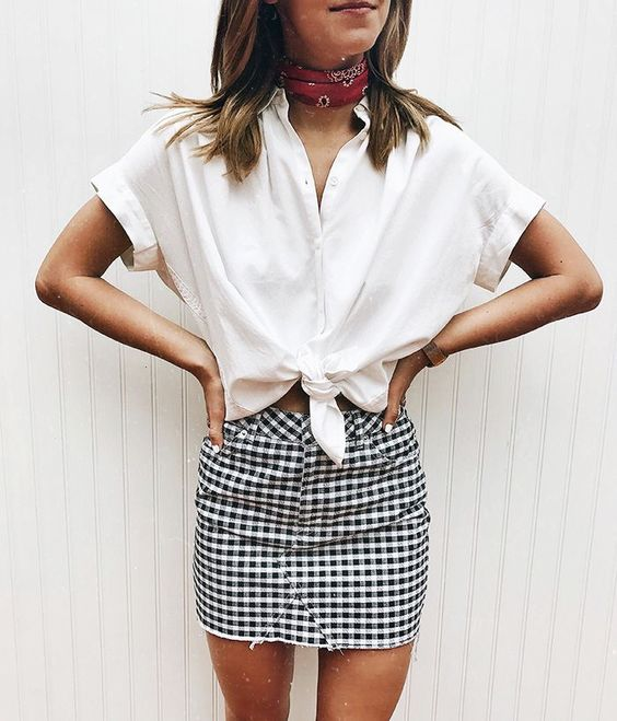 gingham-and-scarf-outfit