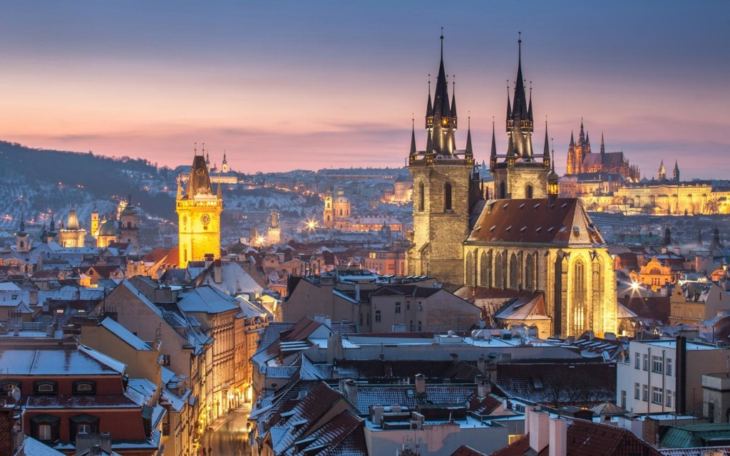 View on Church Of Our Lady Before Tyn, Oldtown Hall and Prague Castle