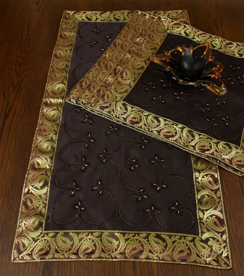 Hand Embroidered Table Placemat Set Set Of 5 Banarsi