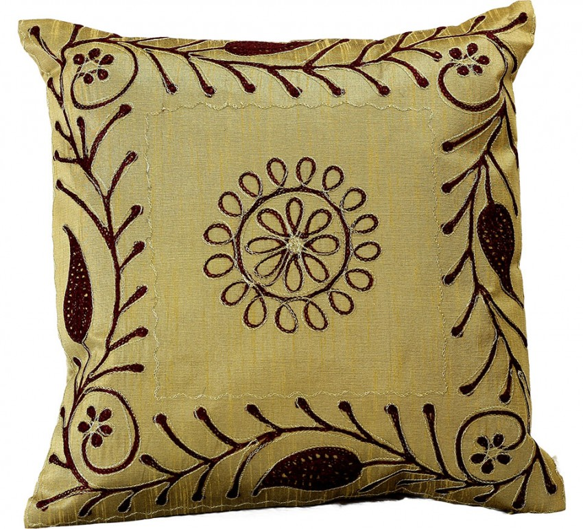 """Paisley Embroidered Pillow Covers 16"""" X 16"""" Set of 2"""