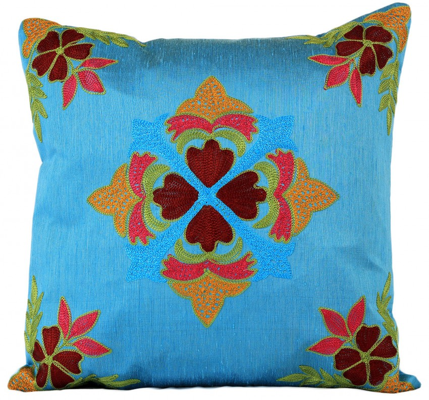 Floral embroidered pillow cover set of 2 banarsi designs Mexican embroidered bedding