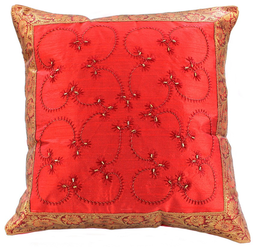 Throw Pillow Cover Designs : Hand Embroidered Beaded Throw Pillow Cover Banarsi Designs