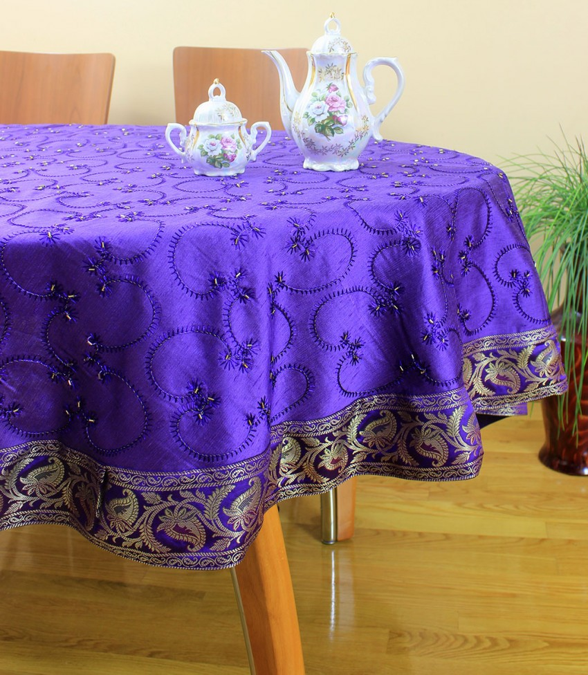Hand Embroidered Beaded Round Tablecloth 70 Quot Amp 90 Quot Round