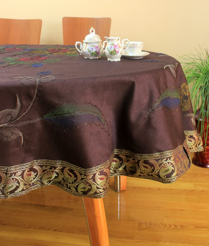"Hand Painted Floral Round Tablecloth 70"" & 90"" Round"