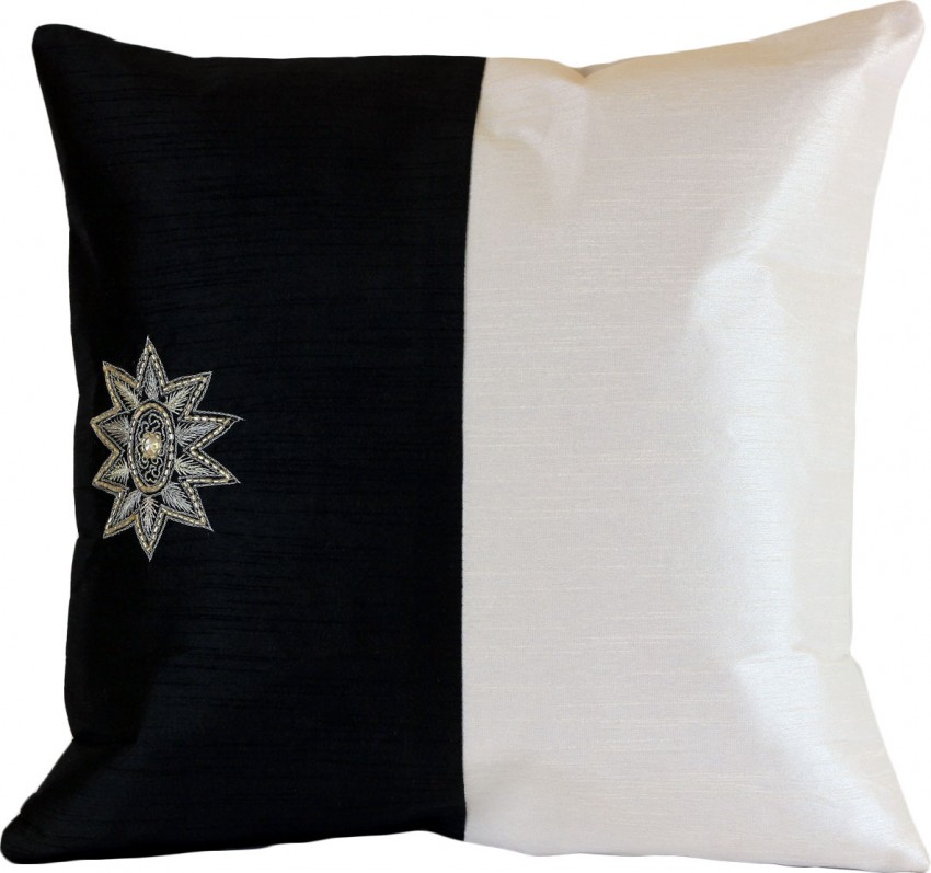 Modern Two Tone Accent Pillow Cover, Set of 2 Banarsi Designs