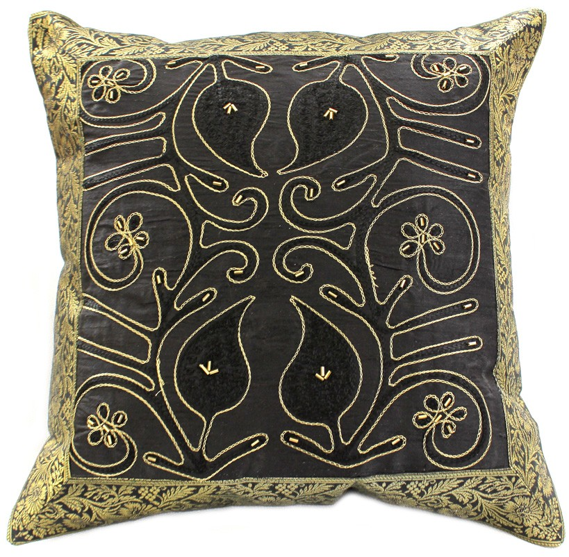 Embroidered Throw Pillow Covers : Ornamental Embroidered Throw Pillow Cover, Set of 2 Banarsi Designs