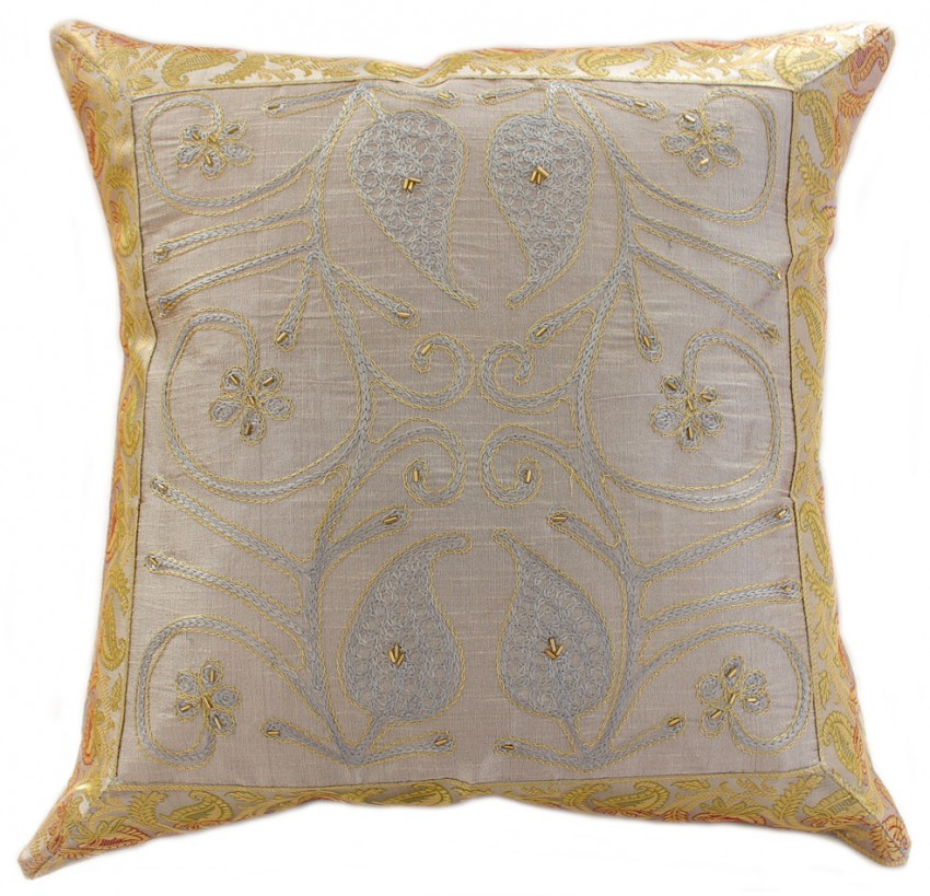 Throw Pillow Cover Designs : Ornamental Embroidered Throw Pillow Cover, Set of 2 Banarsi Designs