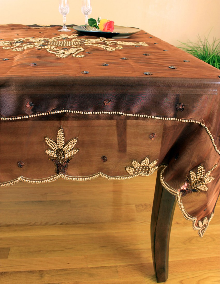 Organza Hand Embroidered 52 X 52 Square Tablecloth