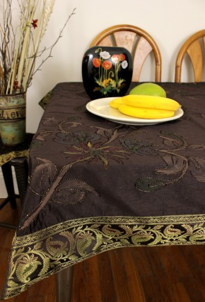 Hand Painted Floral Rectangular Tablecloth