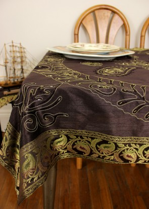 Ornamental Embroidered Rectangular Tablecloth