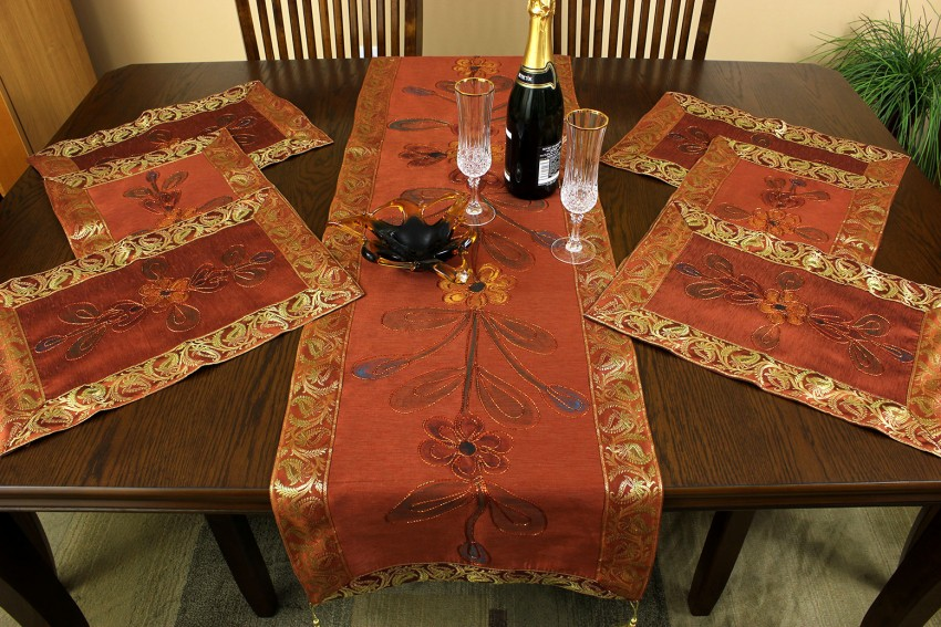 Hand Painted 7 Piece Placemat Table Runner Set Banarsi