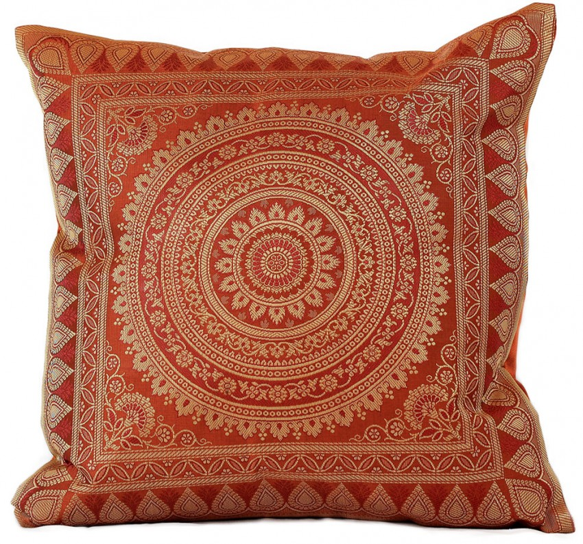 Oriental Throw Pillow Covers : Exotic Oriental Indian Pillow Cover, Set of 2 Banarsi Designs