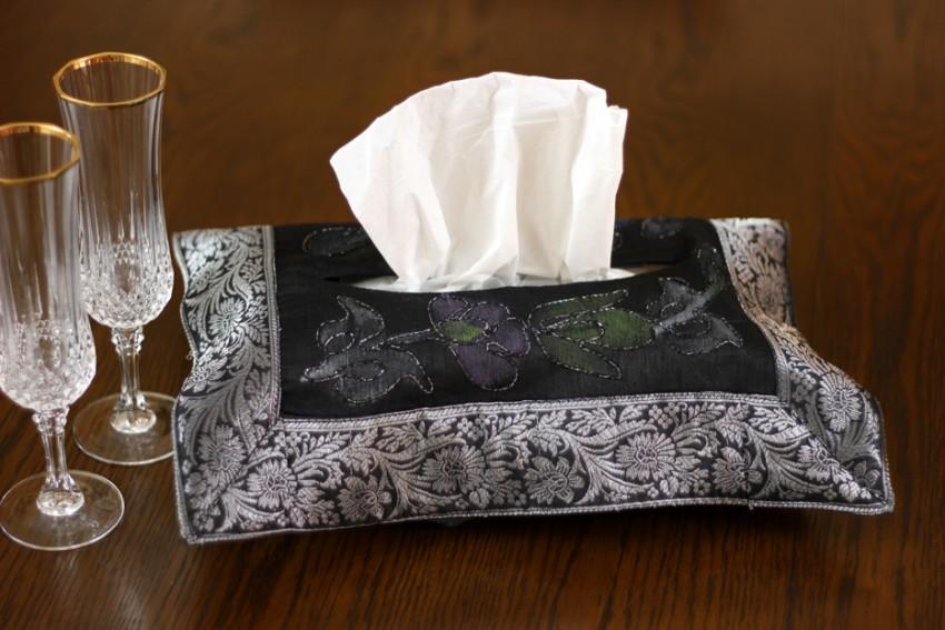 Hand Painted Deluxe Floral Tissue Box Cover Banarsi Designs