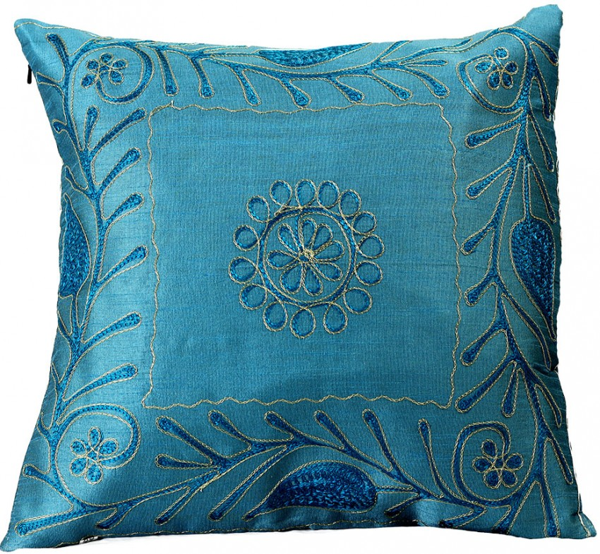 paisley embroidered pillow covers 16 x 16 set of 2 banarsi designs. Black Bedroom Furniture Sets. Home Design Ideas