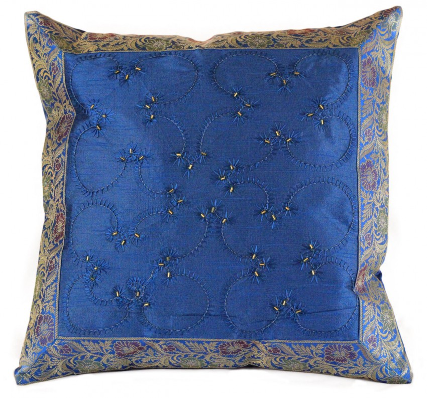 How To Make Throw Pillow Covers By Hand : Hand Embroidered Beaded Throw Pillow Cover Banarsi Designs