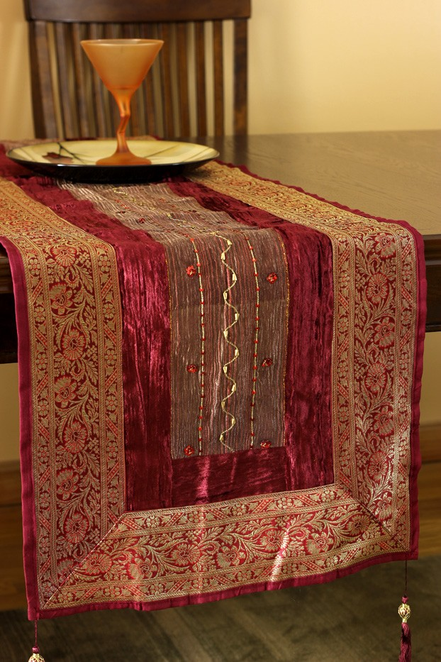 Arabian Velvet Silk Sequin Table Runner Banarsi Designs