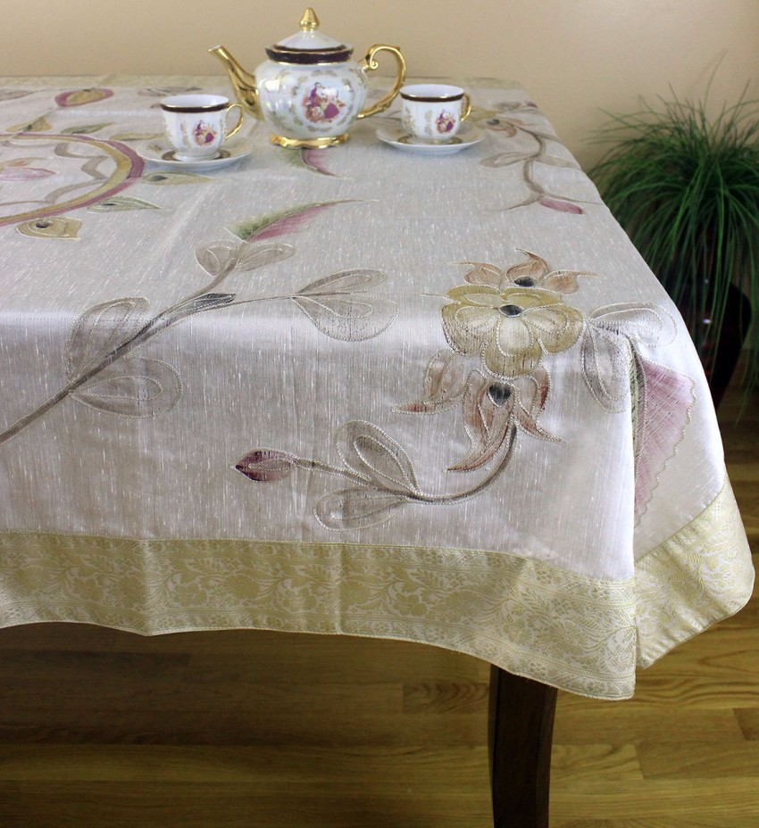 Hand Painted Floral Rectangular Tablecloth Banarsi Designs