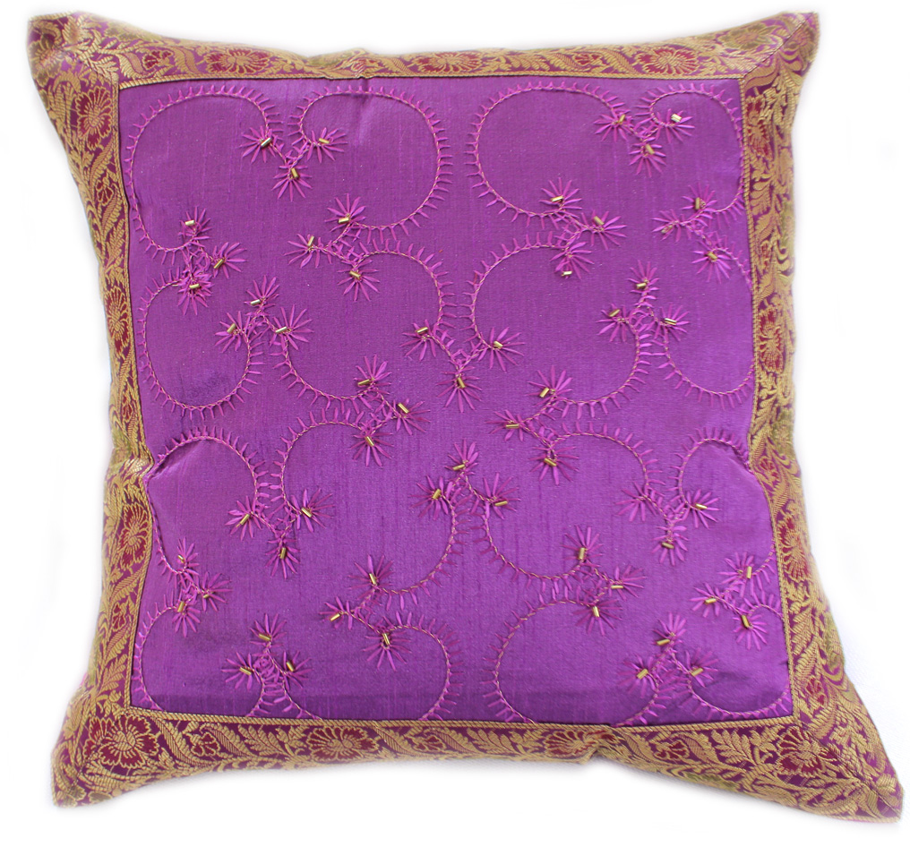 Hand Embroidered Accent Pillow Cover Banarsi Designs