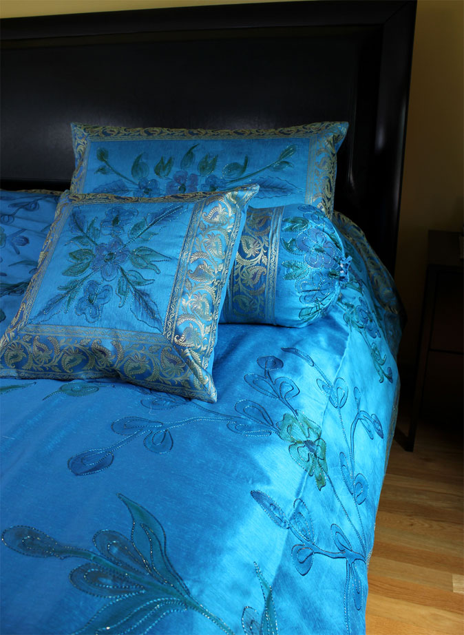 Ocean Blue Hand Painted 7-Piece Duvet Cover Set