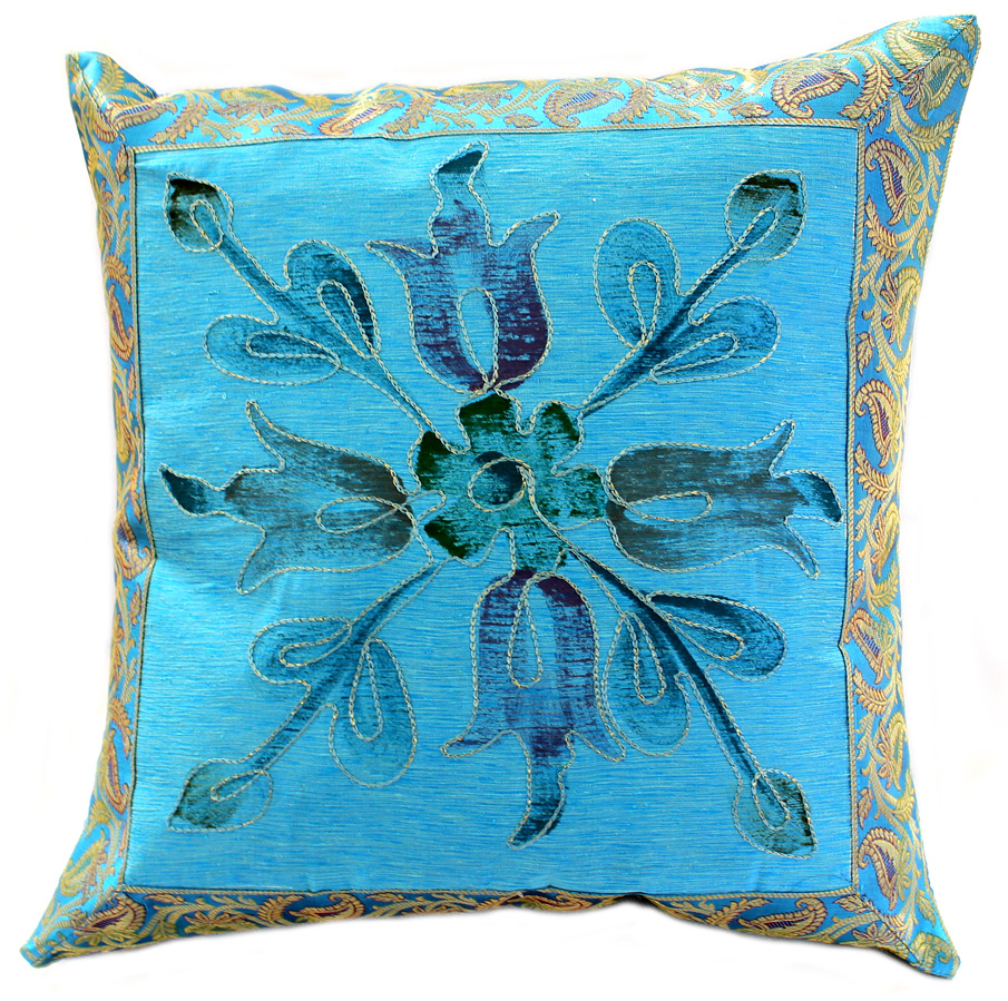 Hand Painted Deluxe Pillow Cover Banarsi Designs
