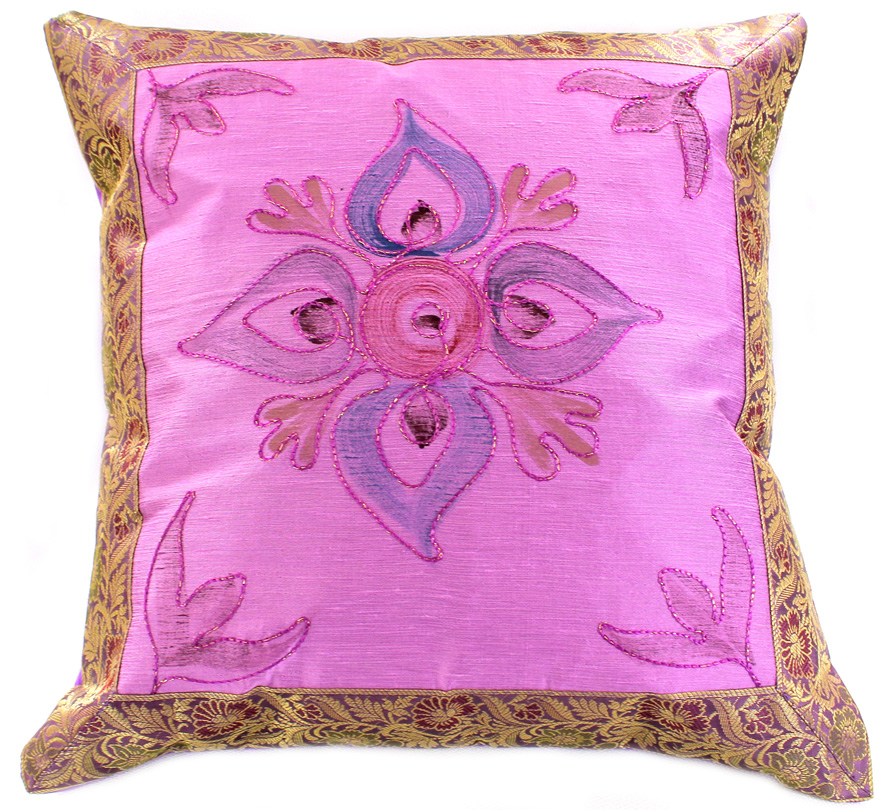 Hand painted deluxe pillow cover banarsi designs for Hand painted pillows