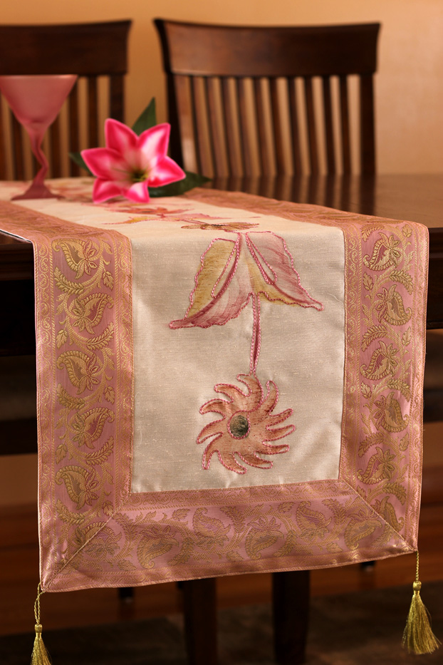 Hand Painted Deluxe Table Runner Banarsi Designs