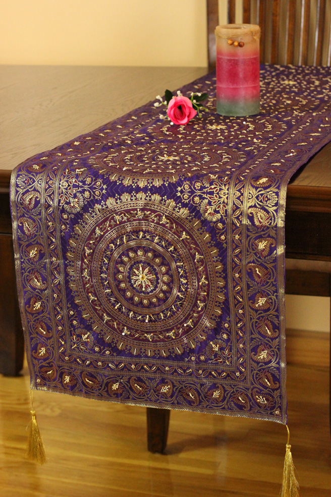 Oriental Dabka Beaded Table Runner Banarsi Designs