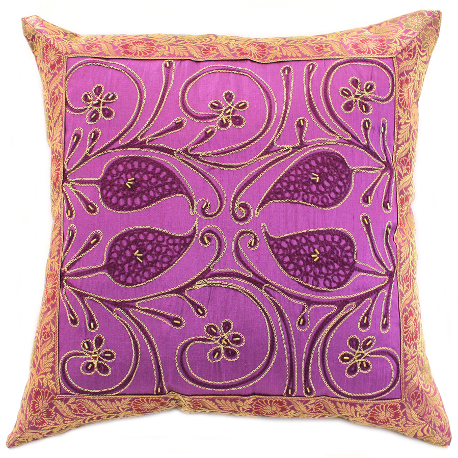 Ornamental Embroidered Throw Pillow Cover, Set of 2 Banarsi Designs