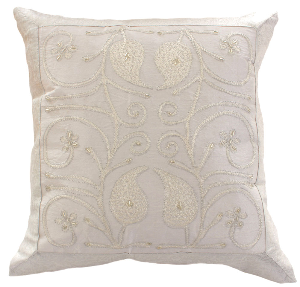 Ornamental Embroidered Throw Pillow Cover Set Of 2 Banarsi Designs