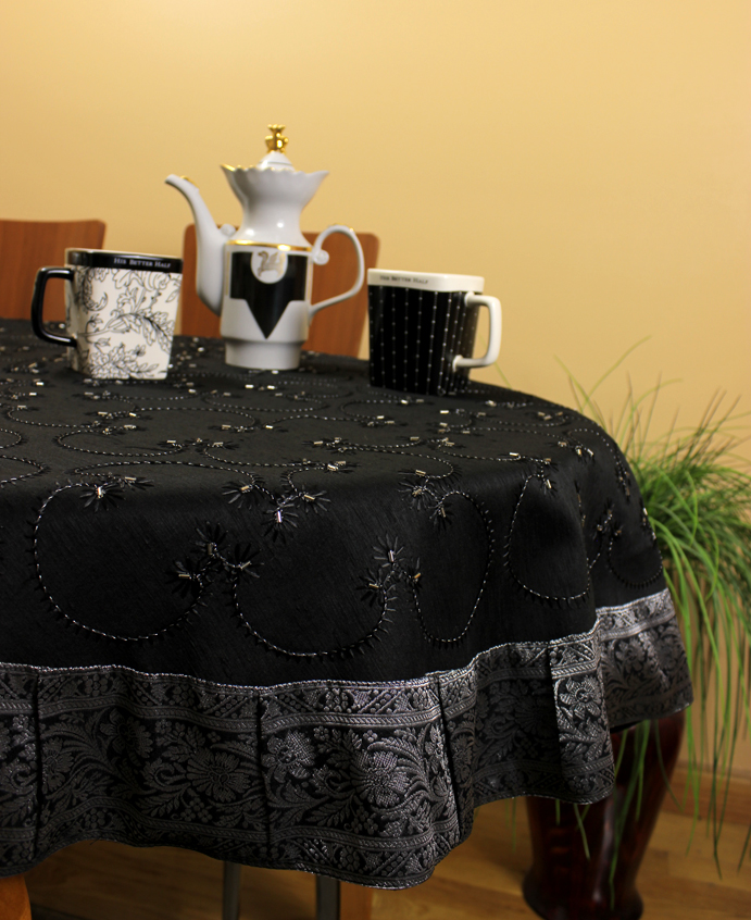 Silver hand embroidered round tablecloth 70 round and for 85 inch tablecloths