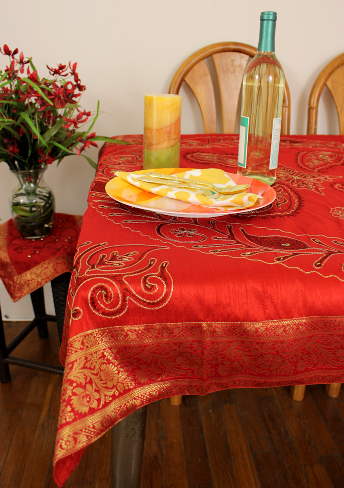 Ornamental Embroidered Rectangular Tablecloth, 52