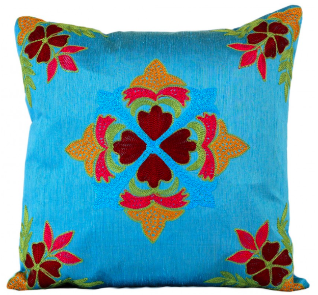 Floral Embroidered Cover Pillow