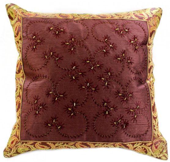 Hand Embroidered Throw Pillow Cover