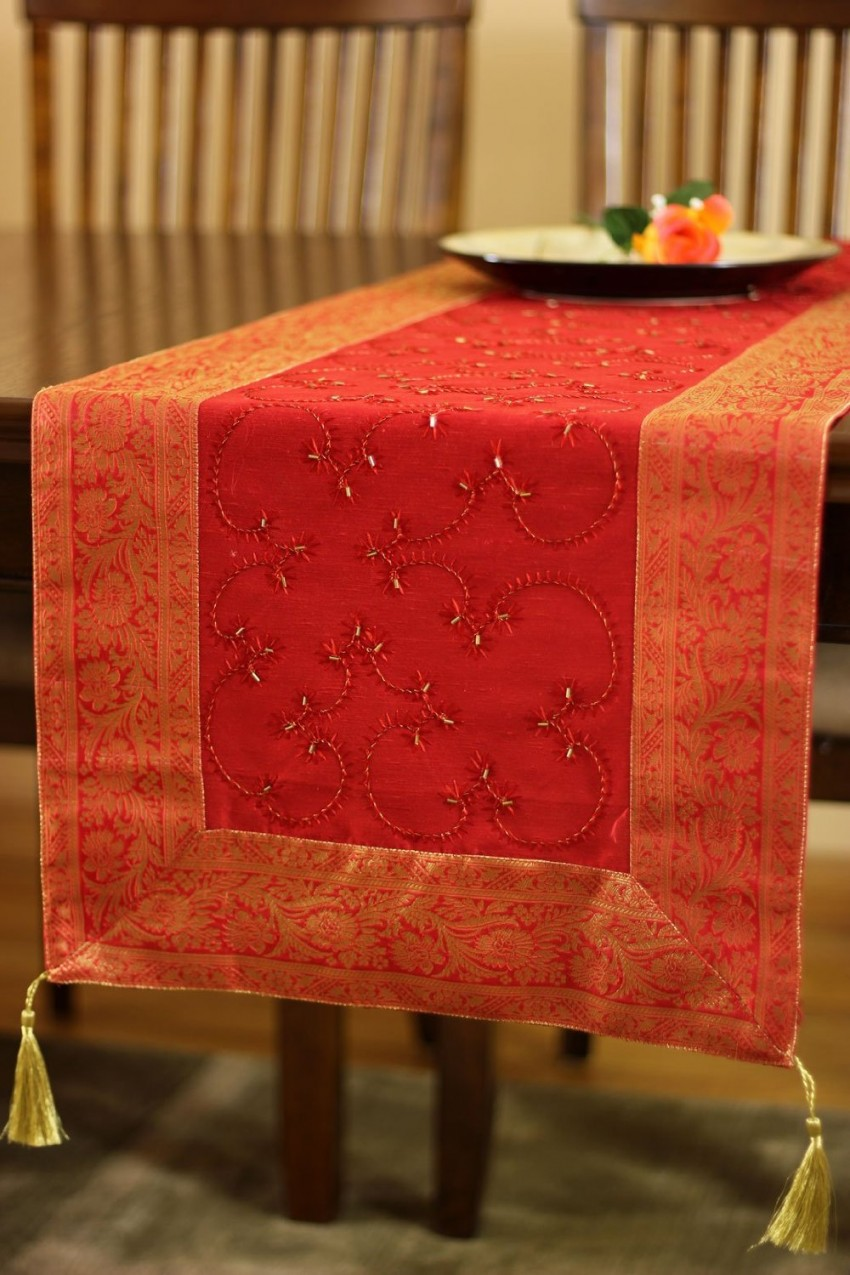 Begin By Highlighting The Center Of Your Table With A Deep Red Table Runner.  The Hand Embroidered Table Runner In Scarlett Red Will Highlight Both The  Red ...