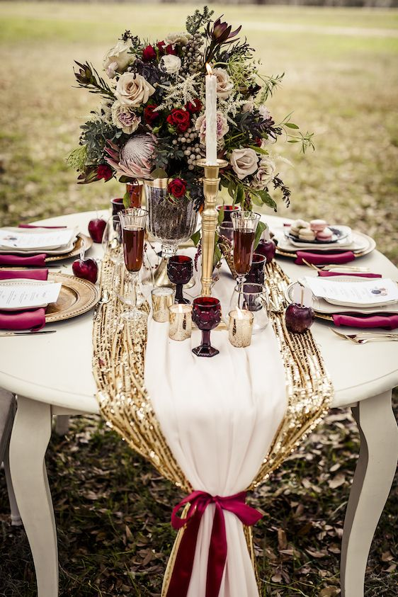Fall Wedding Color Palettes burgandy cream and gold