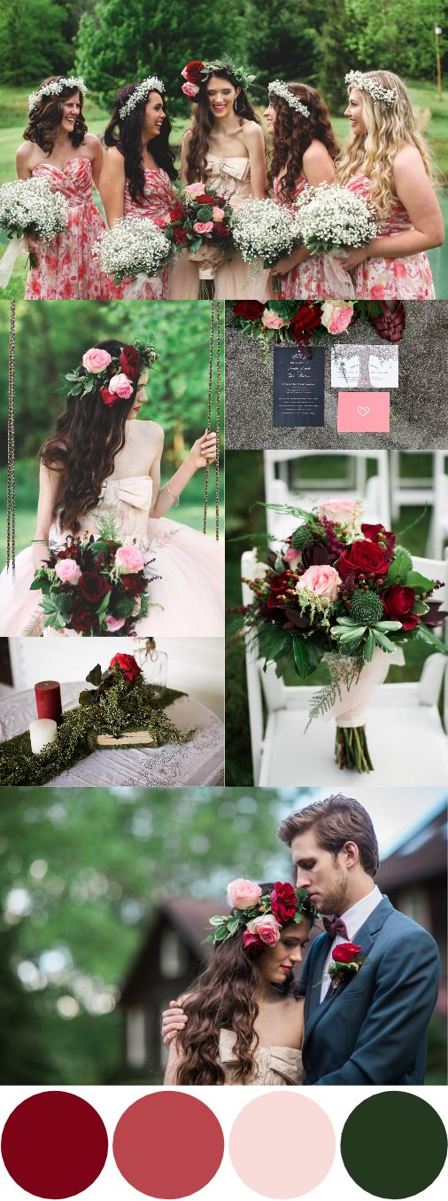 Fall Wedding Color Palettes red rose and green