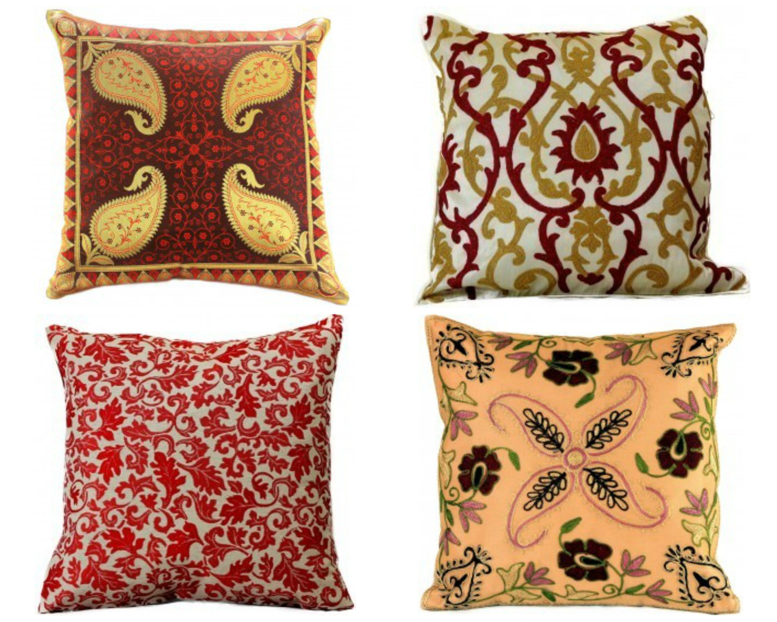 red-boho-pillow-covers