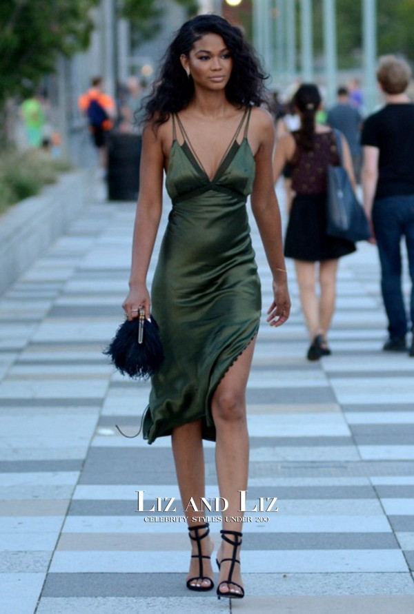 chanel-iman-short-green-satin-dress-6