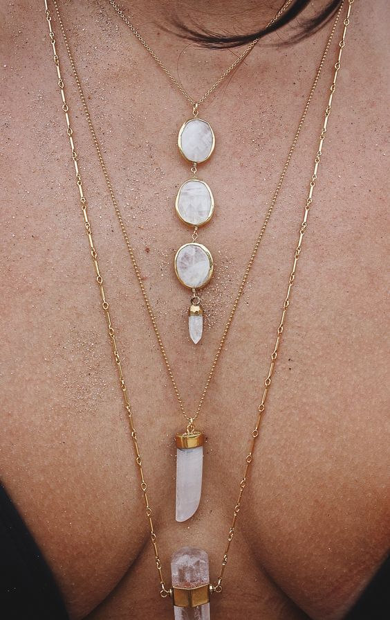 minimalist gold boho necklace layering